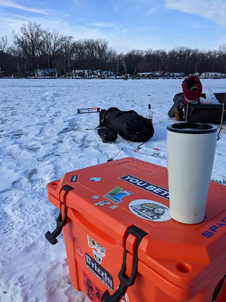 grizzly cooler repurposed for ice fishing storage, bait box and seat