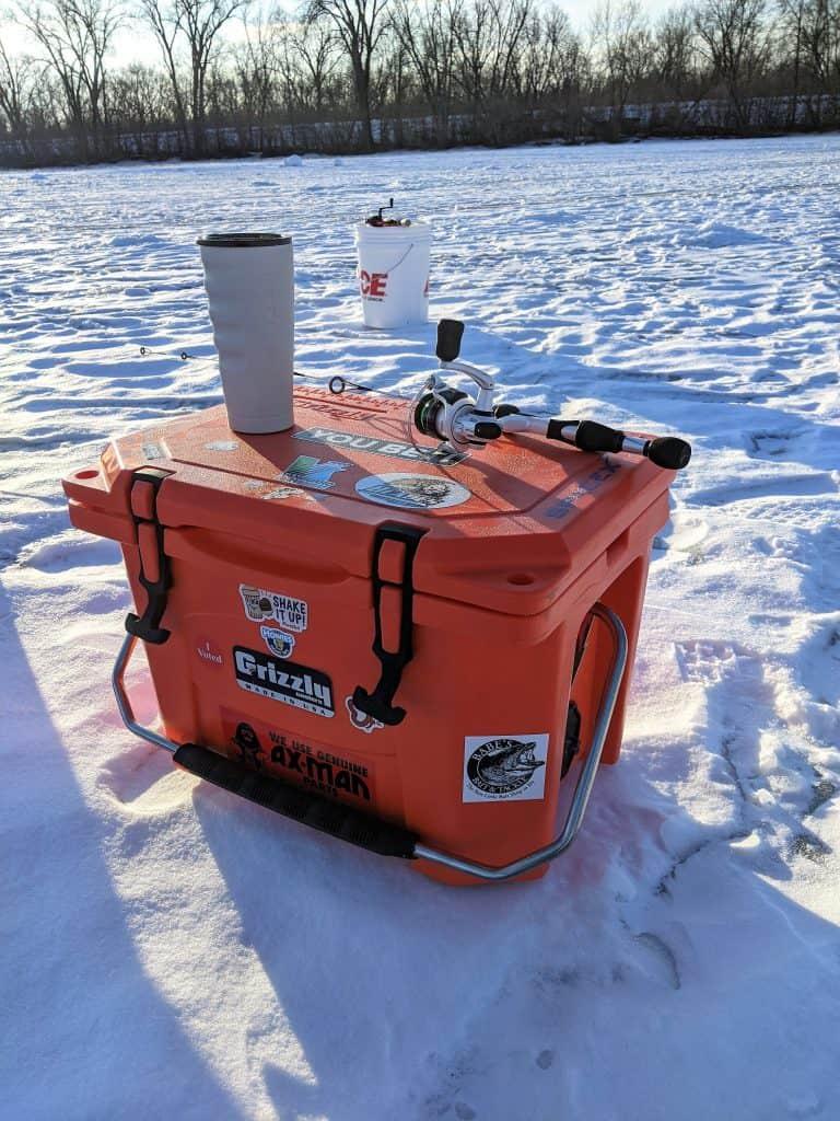 Ice fishing gear, insulated cup, insulated cooler, abu garcia ice fishing rod & reel