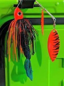 black/orange spinner bait with trailer