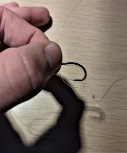 how to tie a snell knot step 2