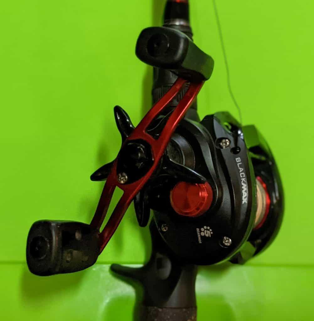 abu garcia black max low profile baitcast reel side view