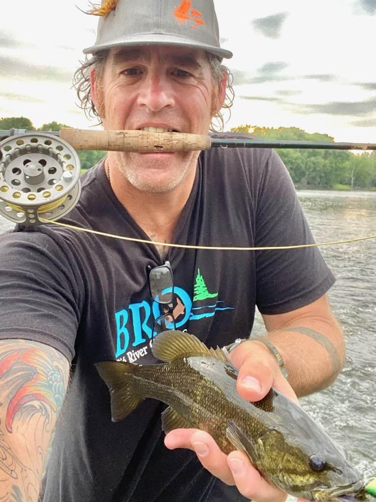 smallmouth bass catch on flyrod